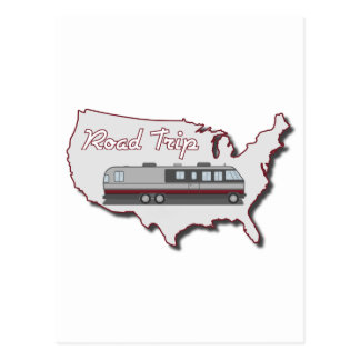 Classic Motor Home USA Road Trip Post Card