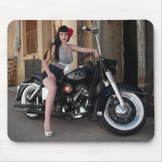 Classic Motorcycle Bettie Pin Up Girl Mousepad