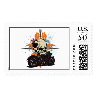 Classic Motorcycle Skull With Paint Splashes Postage