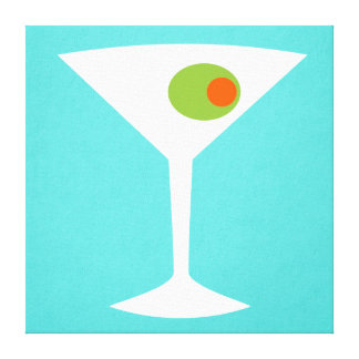 Classic Movie Martini Stretched Canvas (turquoise)