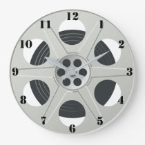 CLASSIC MOVIE REEL (WITH BLACK NUMERALS) LARGE CLOCK