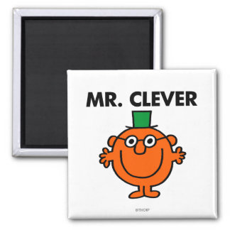 Classic Mr. Clever Logo 2 Inch Square Magnet