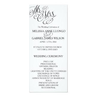 Classic Mr. & Mrs. Wedding Program 4x9.25 Paper Invitation Card