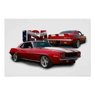 classic muscle car poster
