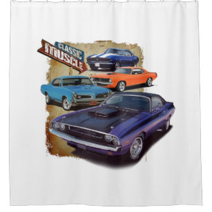 Classic Muscle Cars Shower Curtain