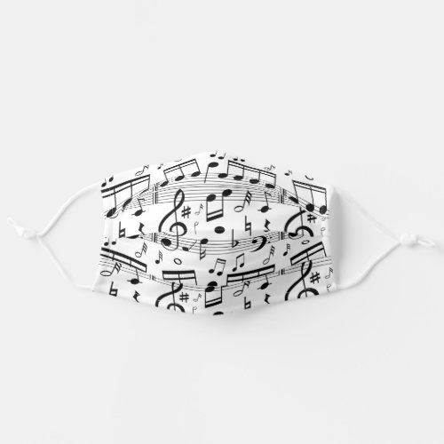 Classic Music Musical Notes Pattern Add Your Name Cloth Face Mask