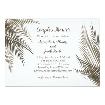 Beach Themed Classic & Natural Palm Leaves Couple's Shower Card