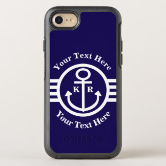 Classic Nautical Anchor monogram OtterBox Symmetry iPhone 7 Case