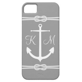 Classic Nautical Anchor with Monogram in Gray iPhone SE/5/5s Case