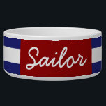 """Classic Nautical Blue and White Stripe Personalize Bowl<br><div class=""""desc"""">Bold blue and white stripes with red accents.  Personalized with your choice of initial,  name,  or favorite text.</div>"""