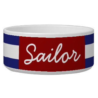 Classic Nautical Blue and White Stripe Personalize Bowl