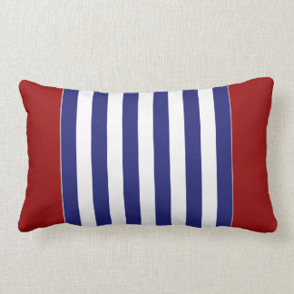 Classic Nautical Blue and White Stripe Personalize Lumbar Pillow