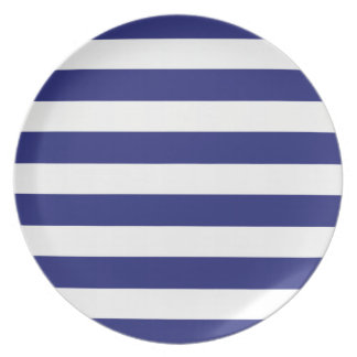 Classic Nautical Blue and White Stripe Personalize Melamine Plate