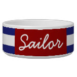 Classic Nautical Blue and White Stripe Personalize Pet Food Bowl