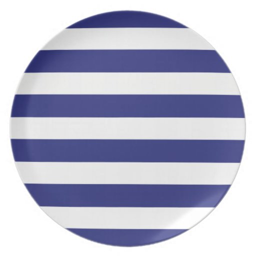 Classic Nautical Blue and White Stripe Personalize Party Plate