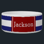 """Classic Nautical Blue and White Stripe With Red Bowl<br><div class=""""desc"""">Bold blue and white stripes with red accent.  Personalized with your choice of name or favorite text.</div>"""