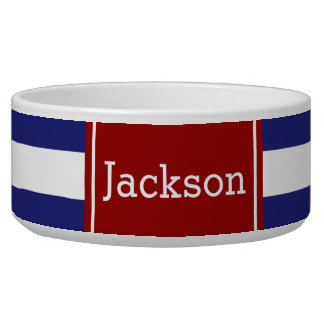 Classic Nautical Blue and White Stripe With Red Bowl