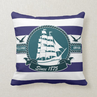 Classic Nautical Blue White stripes Cushion PILLOW