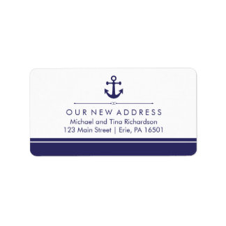 Classic Nautical New Address with Navy Blue Anchor Label