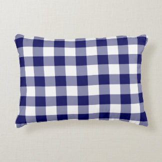 Classic Navy and White Gingham Pattern Decorative Pillow