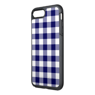Classic Navy and White Gingham Plaid OtterBox Symmetry iPhone 7 Plus Case