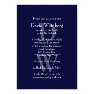 Classic Navy Bar Mitzvah Invitation