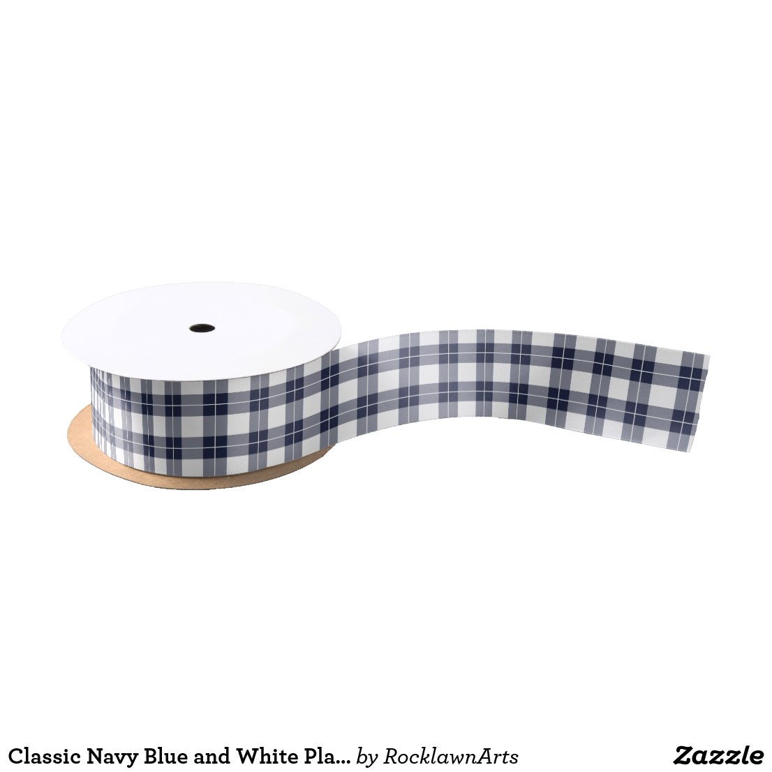 Classic Navy Blue and White Plaid Pattern Satin Ribbon