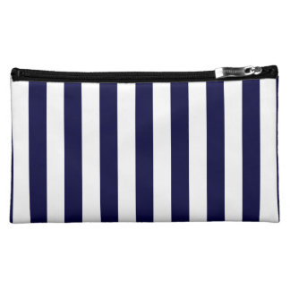 Classic Navy Blue and White Stripe Pattern Cosmetic Bag