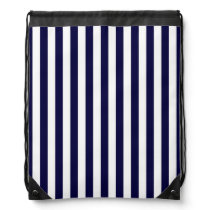 Classic Navy Blue and White Stripe Pattern Drawstring Backpack