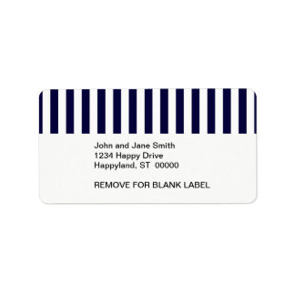 Classic Navy Blue and White Stripe Pattern Label