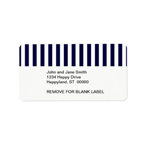 Classic Navy Blue and White Stripe Pattern Personalized Address Labels