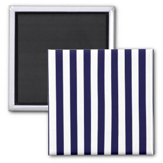 Classic Navy Blue and White Stripe Pattern 2 Inch Square Magnet