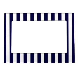 Classic Navy Blue and White Stripe Pattern Magnetic Picture Frames
