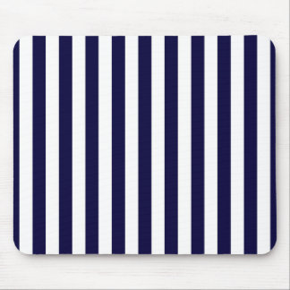 Classic Navy Blue and White Stripe Pattern Mouse Pad