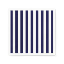 Classic Navy Blue and White Stripe Pattern Napkin
