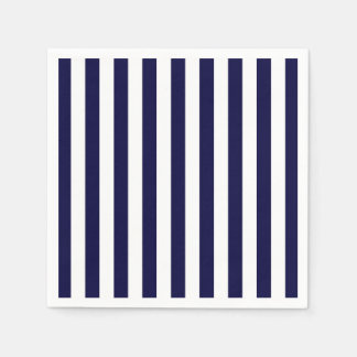 Classic Navy Blue and White Stripe Pattern Paper Napkin
