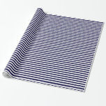Classic Navy Blue and White Stripe Pattern Gift Wrap Paper