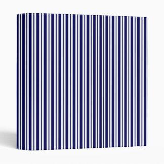 Classic Navy Blue White Uneven Stripe Pattern #2 Vinyl Binder