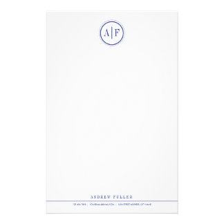 Classic Navy Monogrammed Stationery