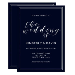 Simple Navy and Silver Wedding Card