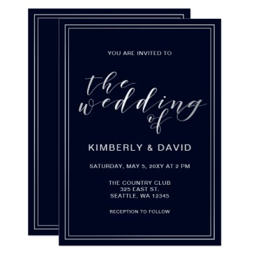 Classic Navy Silver Wedding Card