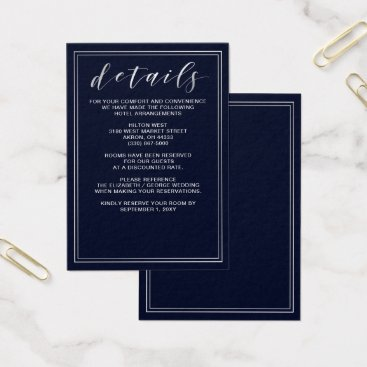 Classic Navy Silver Wedding details card