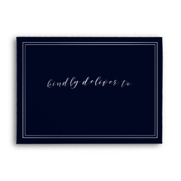 Classic Navy Silver Wedding Envelope