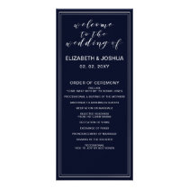 Classic Navy Silver Wedding programs