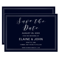 Classic Navy Silver Wedding save the dates Card