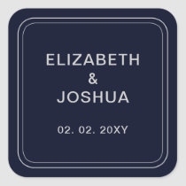 Classic Navy Silver Wedding Square Sticker