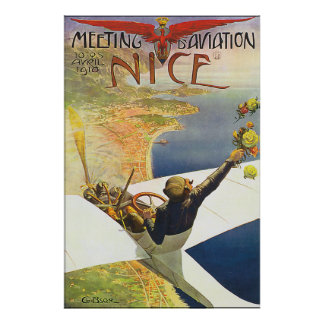 Classic Nice France Aviation Poster