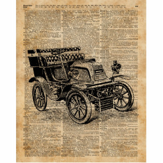 Classic Old Car,Vintage Vehicle Dictionary Art Cutout