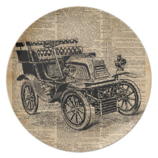 Classic Old Car,Vintage Vehicle Dictionary Art Melamine Plate