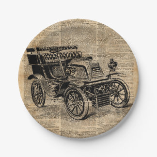Classic Old Car,Vintage Vehicle Dictionary Art Paper Plate